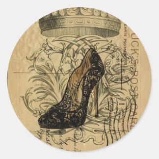 vintage crown paris fashion queen Stiletto Classic Round Sticker
