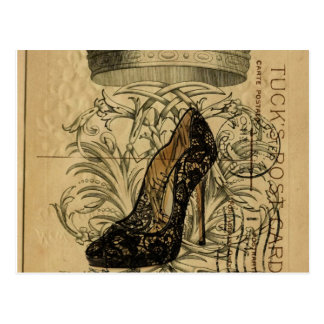 vintage crown paris fashion queen Stiletto Postcard