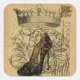 vintage crown Paris fashionista queen stiletto Square Sticker