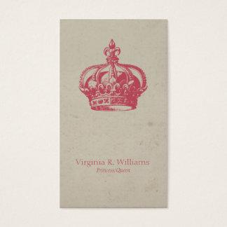 Vintage Crown Queen Pink Business Card