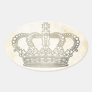 Vintage Crown Oval Sticker