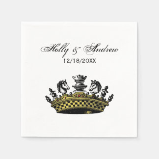 Vintage Crown With Chess Pieces Color Paper Napkin