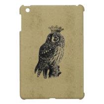 Vintage crowned owl bird owls birds rustic girly iPad mini cases
