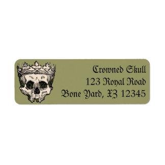 Vintage Crowned Skull Return Address Label