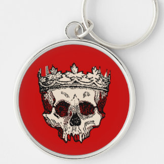 Vintage Crowned Skull Silver-Colored Round Keychain