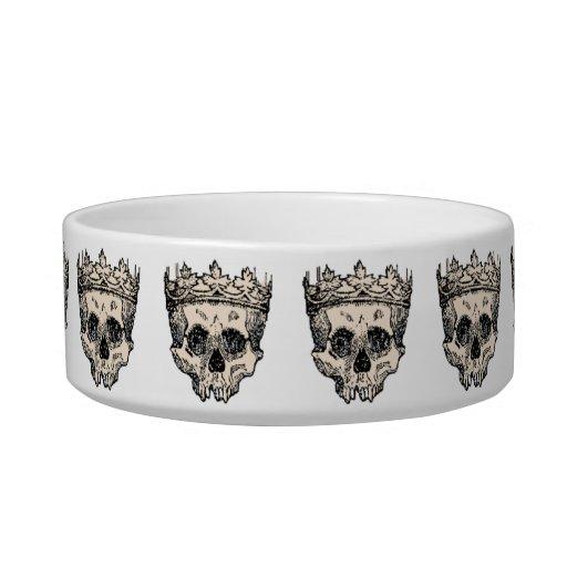 Vintage Crowned Skulls Pet Food Bowl