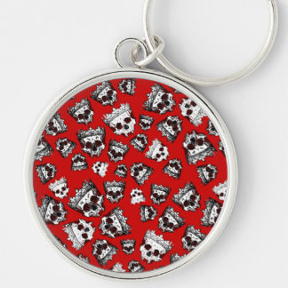 Vintage Crowned Skulls Silver-Colored Round Keychain