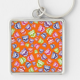 Vintage Crowned Skulls Silver-Colored Square Keychain