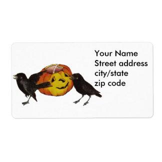 Vintage Crows and Pumpkin Art Label