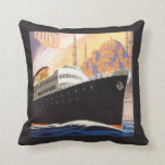 Vintage Cruise Ship Colorful Art Accent Pillow
