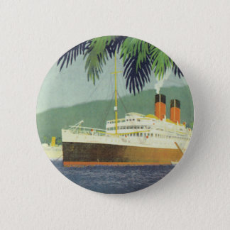 Vintage cruise ship illustration button