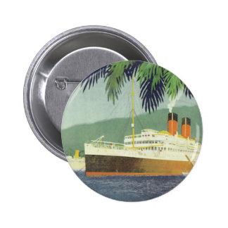 Vintage cruise ship illustration button