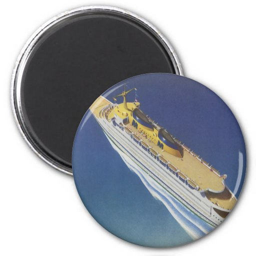 Vintage Cruise Ship in the Ocean Seen from Above 2 Inch Round Magnet