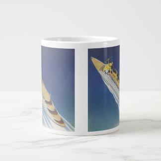 Vintage Cruise Ship in the Ocean Seen from Above Giant Coffee Mug