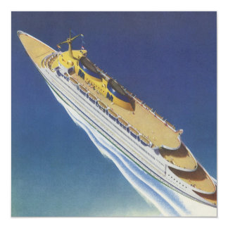 """Vintage Cruise Ship in the Ocean Seen from Above 5.25"""" Square Invitation Card"""