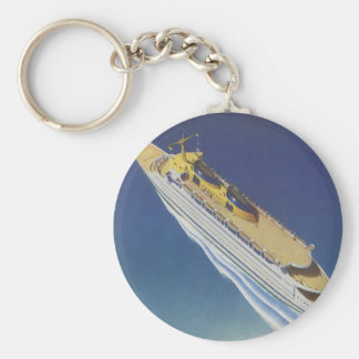 Vintage Cruise Ship in the Ocean Seen from Above Key Chain