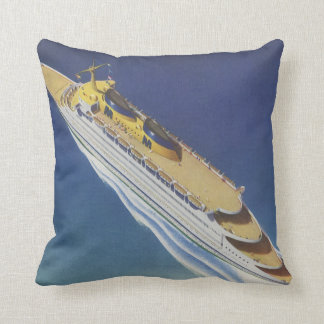 Vintage Cruise Ship in the Ocean Seen from Above Throw Pillows