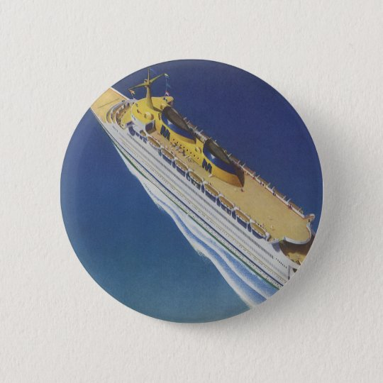 Vintage Cruise Ship in the Ocean Seen from Above Pinback Button