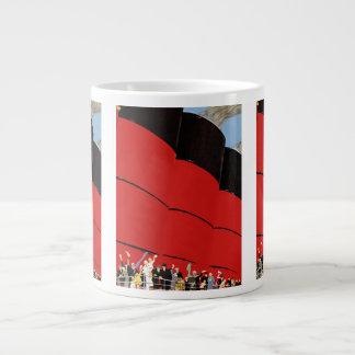 Vintage Cruise Ship Passengers Waving Goodbye Large Coffee Mug
