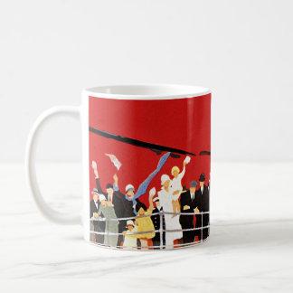 Vintage Cruise Ship Passengers Waving Goodbye Classic White Coffee Mug