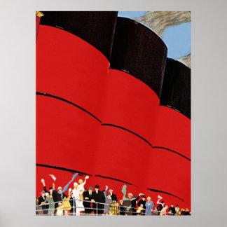 Vintage Cruise Ship Passengers Waving Goodbye Posters
