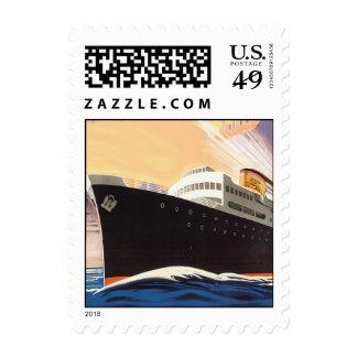 Vintage Cruise Ship Stamp