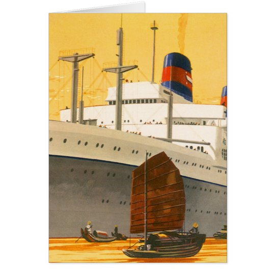 Vintage Cruise Ship to the Orient with Junks Boats Card