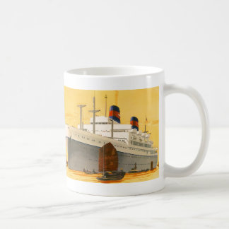 Vintage Cruise Ship to the Orient with Junks Boats Coffee Mug