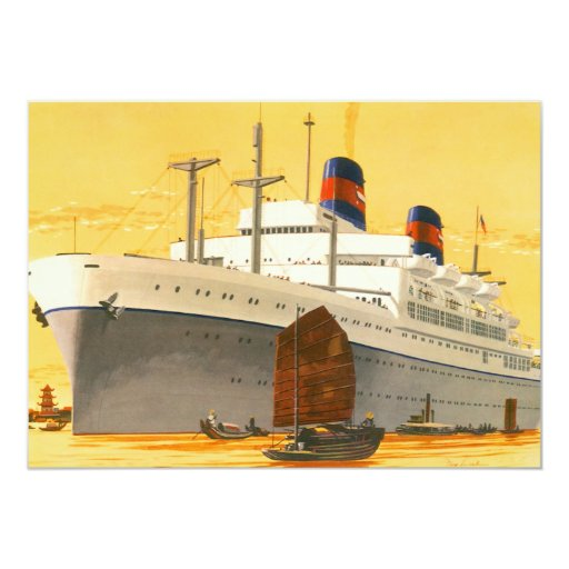 Vintage Cruise Ship to the Orient with Junks Boats Custom Announcement