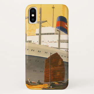 Vintage Cruise Ship to the Orient with Junks Boats iPhone X Case