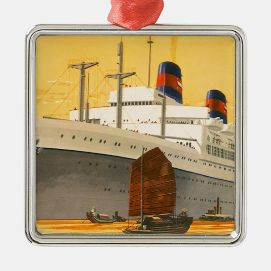 Vintage Cruise Ship to the Orient with Junks Boats Metal Ornament