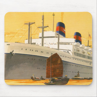 Vintage Cruise Ship to the Orient with Junks Boats Mouse Pad