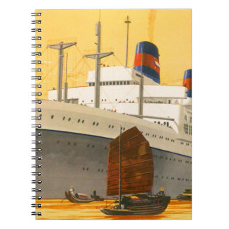 Vintage Cruise Ship to the Orient with Junks Boats Note Books