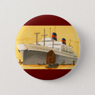 Vintage Cruise Ship to the Orient with Junks Boats Pinback Button