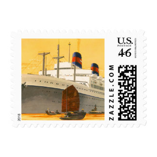 Vintage Cruise Ship to the Orient with Junks Boats Postage Stamps