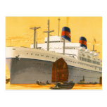 Vintage Cruise Ship to the Orient with Junks Boats Post Cards