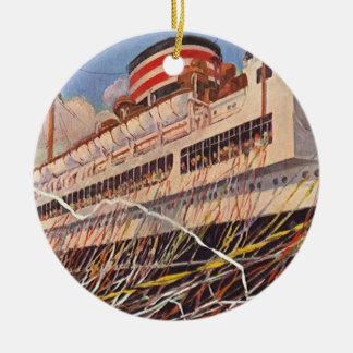 Vintage Cruise Ship Vacation; Bon Voyage Party! Ceramic Ornament