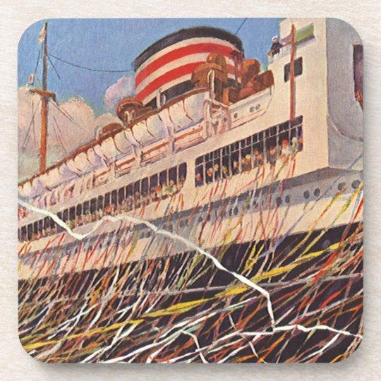 Vintage Cruise Ship Vacation; Bon Voyage Party! Drink Coaster