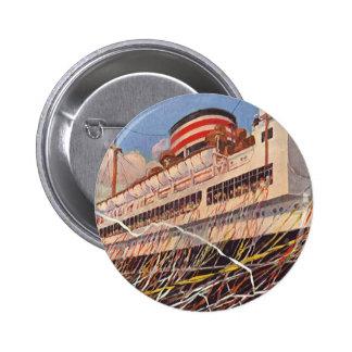 Vintage Cruise Ship Vacation; Bon Voyage Party! Pinback Button