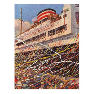 Vintage Cruise Ship Vacation; Bon Voyage Party! Postcard