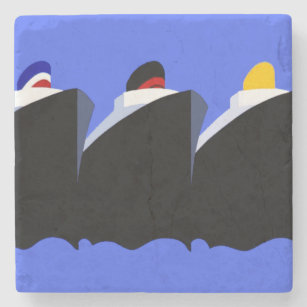 Vintage Cruise Ships Poster Ocean Liners Stone Coaster