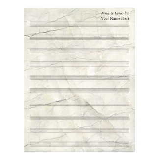 Vintage Crumpled Paper Blank Sheet Music 10 Stave Letterhead