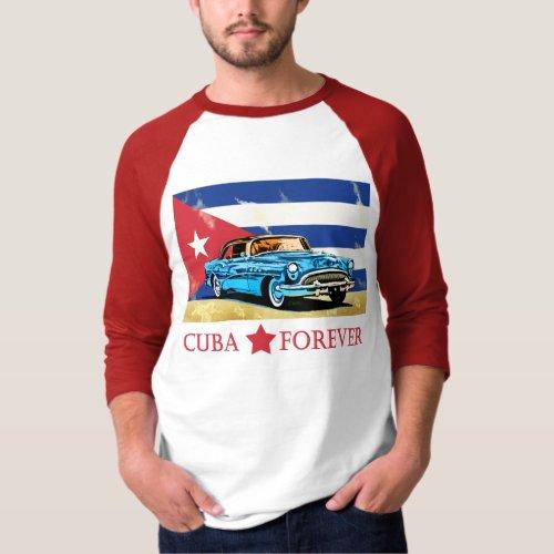 Vintage Cuba Flag Classic Car T_Shirt