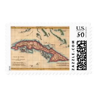 Vintage Cuba Island Map Old Travel Postage