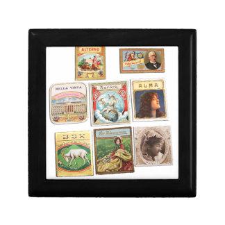 Vintage Cuba seals Memorabilia Labels Jewelry Box