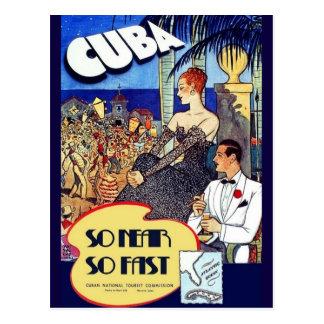 Vintage Cuba So Near So Fast National Travel Ad Postcard