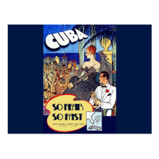 Vintage Cuba So Near So Fast Travel Postcard