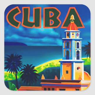 Vintage Cuba Travel Square Sticker
