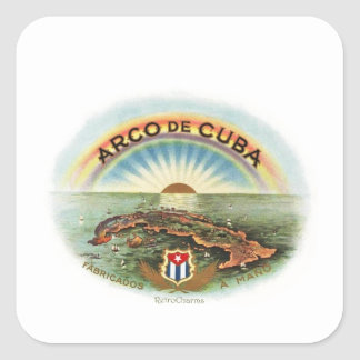 Vintage Cuban Arc of Cuba Square Sticker