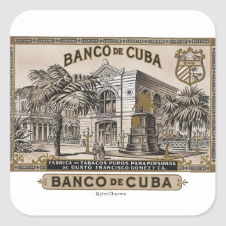 Vintage Cuban Bank of Cuba of Cuba Square Sticker